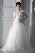 Vestido de noiva princesa com alça espaguete Vestido longo