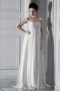 Fashion Empire Strapless Floor length Court Beaded Wedding Dress