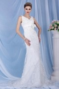 Fancy Sheath Column V Neck Straps Chapel Train Bridal Wedding Dress