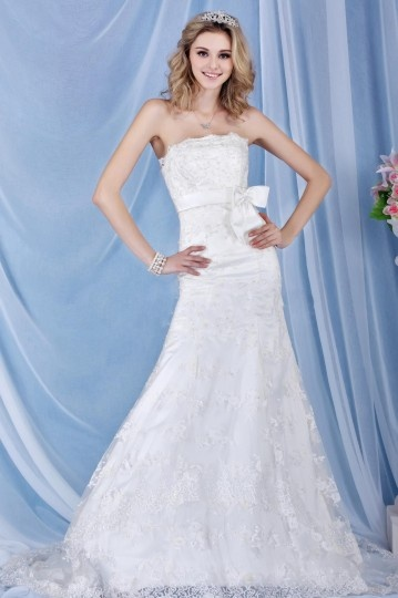Empire Strapless Sleeveless Floor Length Lace Bow Wedding Dress