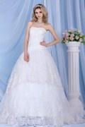 Vestido de noiva princesa renda decorado de jóias Sem alça linha A cauda capela