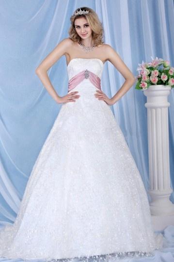 Klassisches Spitze Applikationen Schärpe verziertes Schnürung Brautkleid Persun