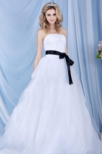 Dazzling A line Strapless Floor length Court Sash Wedding Dress