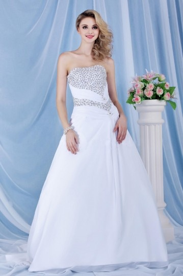 Strapless Beaded A line Church / Hall Wedding Gown
