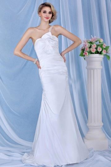 Vestido de noiva sereia um ombro cauda capela