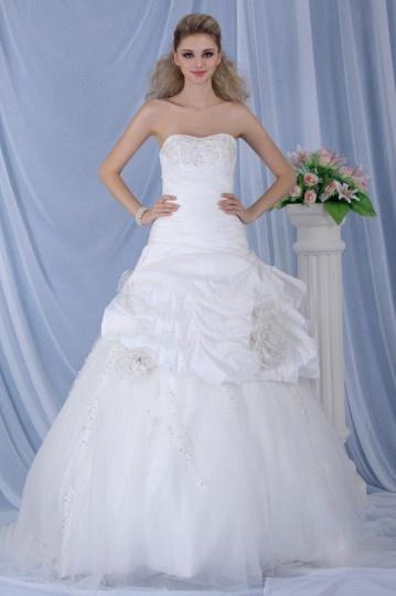 Ball Gown Chapel Train Strapless Draped Wedding Dress