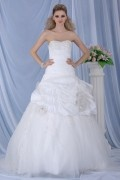 Ball Gown Chapel Train Strapless Draped Wedding Dress