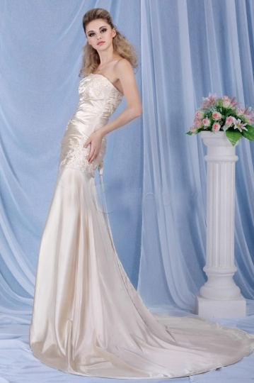 Gorgeous Strapless Lace Up Sweep Train Champagne Wedding Dress Persun