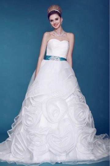Ball Gown Sweetheart Floor length Chapel Flowers Wedding Dress