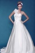 Empire Ein Schulter Kapelle Schleppe geknittertes Blumen Hochzeitskleid