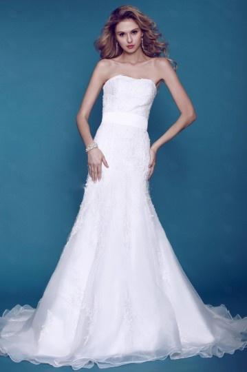 A Line Strapless Floor length Chapel Appliques Wedding Dress