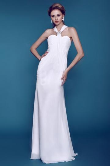 Plain Column / Sheath Beaded Beach Wedding Dress