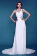 A-Linie Neckholder Empire Perlen verziertes geknittertes Knopfe Hochzeitskleid mit Kapelle-Schleppe