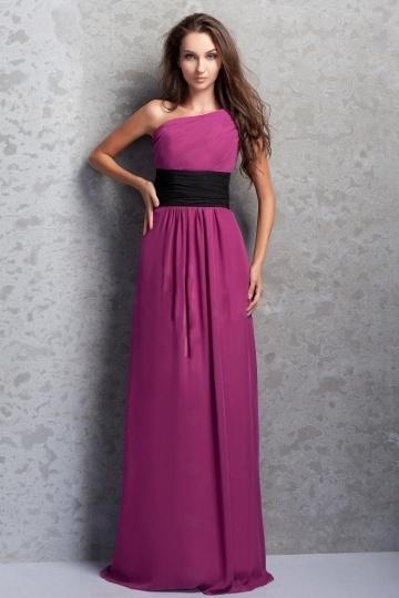 Delicado Vestido de Dama de Honor/Fiesta/Noche Hasta el Suelo con Solo Hombro Imperio
