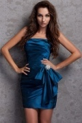 Trendy Sexy Strapless Silk Like Satin Blue Sheath Cocktail Dress