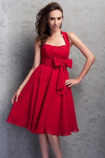 rot-neckholder-alinie-schleife-knielanges-brautjungfernmode-kleid