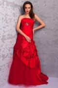 Schön Trompete Rot Trägerlos Brautkleider aus Satin