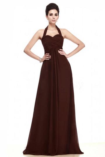 Chic braunes Halter A-Linie Langes Ruching Abendkleider aus Chiffon Persunshop