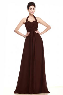 Simple Halter Backless Chiffon Floor Length Brown Bridesmaid Dress