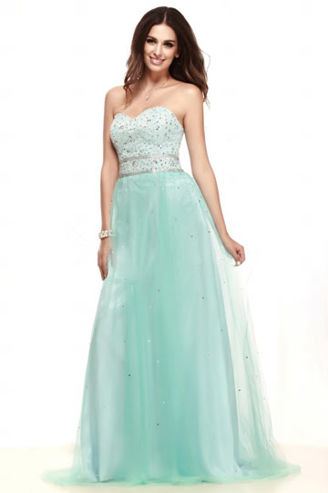 Dressesmall Chic Sweetheart A Line Tulle Long Green Cocktail Dress