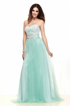 Chic Sweetheart A Line Tulle Long Green Cocktail Dress