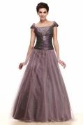 Elegant Square Cap Sleeves Taffeta A Line Evening Dress