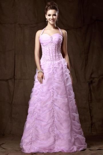 Robe de bal rose bustier effet corsage encolure halter jupe fantastique