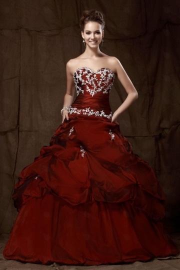 Luxus Herz-Ausschnitt Ball gown rotes Brautkleider aus Taft Persun