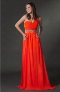 Luxury One Shoulder Orange Sequins High Split Long Cocktail Dress