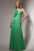 Elegant Green One Shoulder A Line Chiffon Flowers Formal Bridesmaid Dress