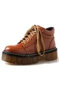 Chaussures femme ville plates haute plateforme à lacets