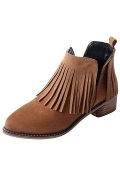 Low boots femme découpé en V à franges