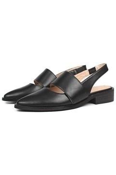 Sandale plate femme en cuir à talon découvert