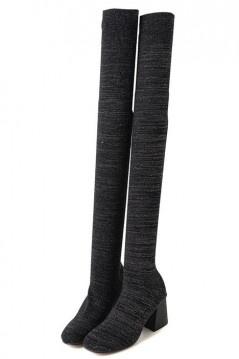 Bottes chaussettes noires à mi-cuisse à talon