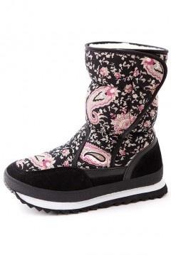 Chaussures après-ski pour femmes en bloc couleur rose et noire