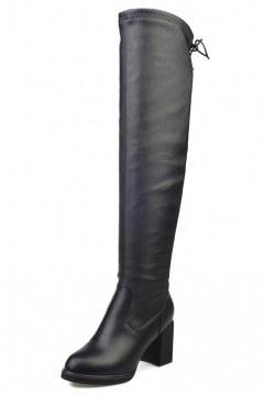 Bottes cuissardes noire avec lacet arrière à talons carrés