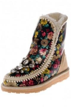 Bottes femme chaudes motif fleurs ornées de strass