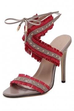 Sandales frangées en bloc couleur style romain