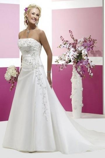A Linie trägerloses Applikation Ärmelloses Brautkleid aus Satin Persun