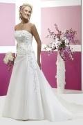 Vestido de noiva cauda curto linha-A Sem alça em cetim com apliques