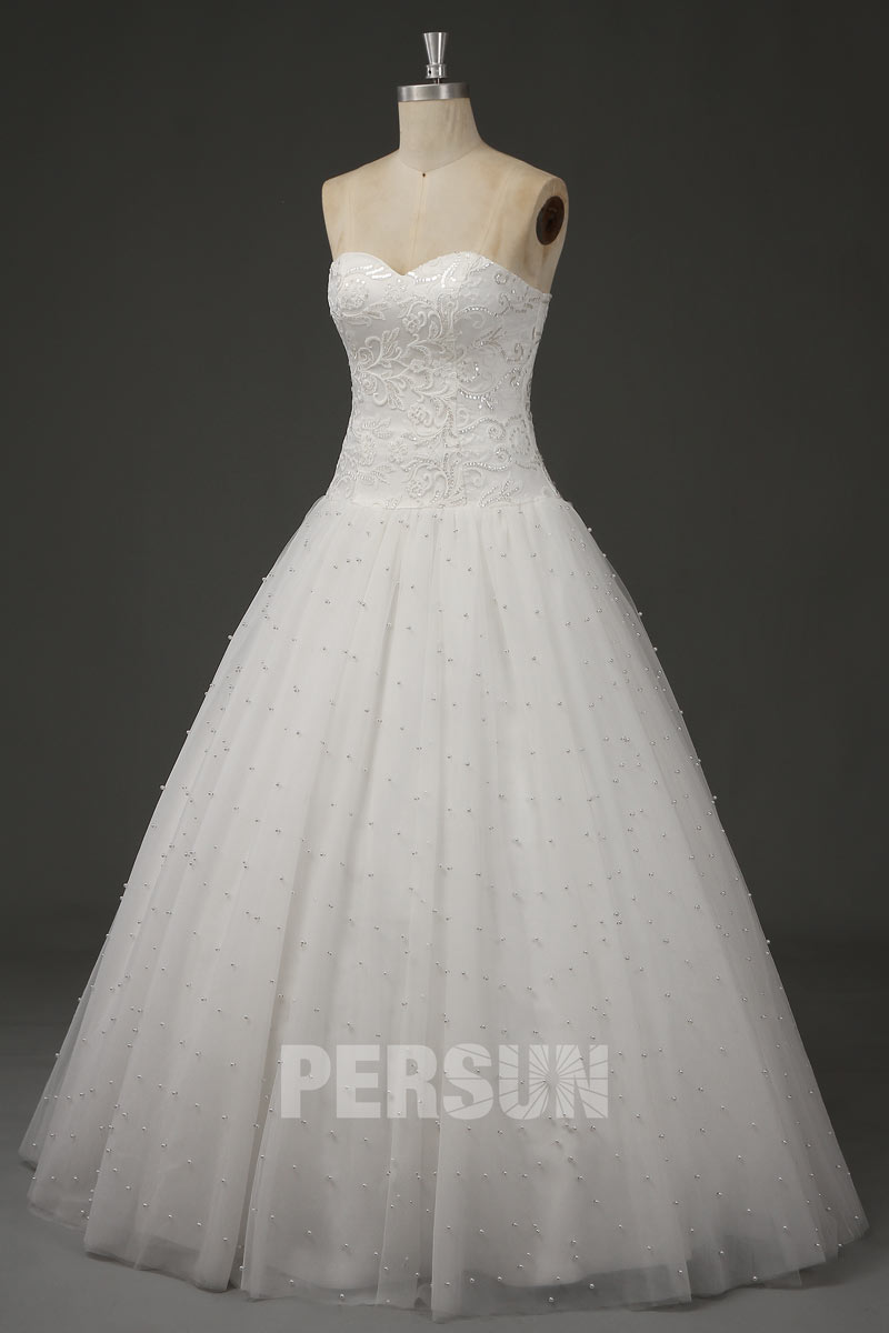 2021 princess wedding dress with pearl detailed skirt