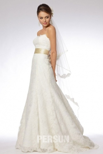 Bow Lace Sweetheart Court Train A line Wedding Dress