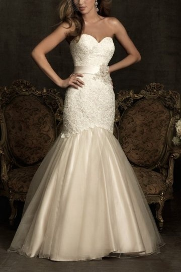 Strapless Sweetheart Embroidery Mermaid Lace Wedding Dress