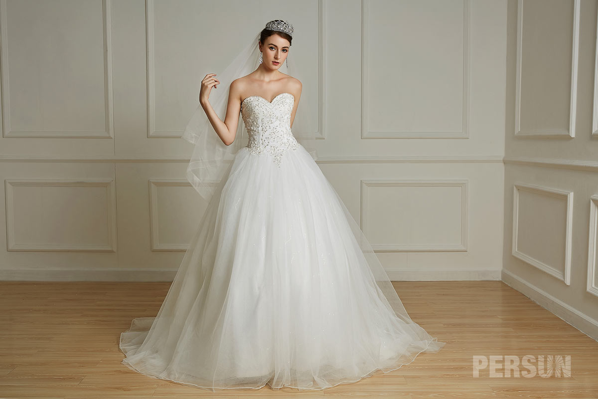 strapless sweetheart bridal gown embroidery chapel train tulle trend 2019