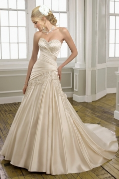 Sweetheart Pleats Beading Lace Mermaid Chaple train Wedding Dress