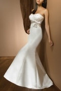 Strapless Embroidery Court Train Satin Mermaid Wedding Dress