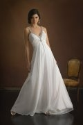 A-line V-neck Beaded Court Train Chiffon Wedding Dress