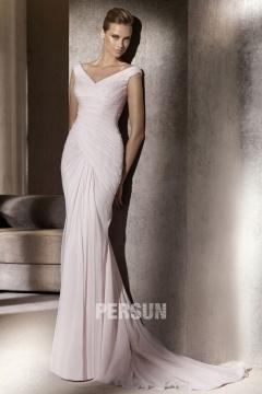 Thetford 2014 Simple Elegant Chiffon Mermaid Court Train Wedding Gown