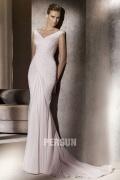 V Ausschnitt gefaltetes Hof Schleppe Chiffon Meerjungfrau Brautkleid