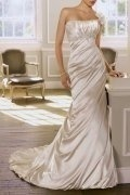 Strapless Beaded Ruched Sweep Train Mermaid Wedding Dress